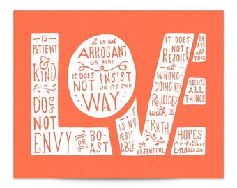 1 Corinthians 13 Love Hand Lettered Typography Scripture Art Print