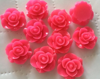 8 pcs 21 mm Mixed Cabochon Flowers.Hot pink ,21 mm Rose cabochon,resin Flower, flower kit, pink cabochon flower,hot pink rose flower