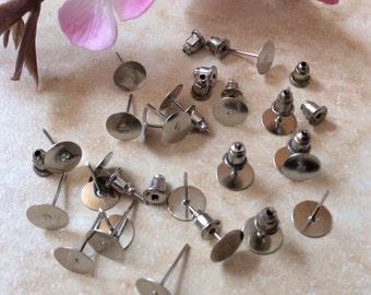 Nickel Free,,50 pcs 8 mm Earring Blank with back,50 Ear nuts,Patinum,earring post,8 mm earring blank,platinum ear nut,platinum ear stud