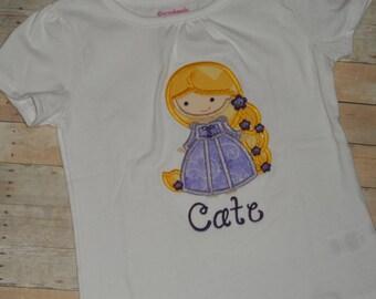 Infant baby Toddler girls Rapunzel cutie custom applique shirt 2t 3t 4t 5t