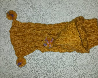 HAND KNITTED Dog SWEATER With Hood, Ready to Ship, Soft Brown Sweater for Your Dog/Cat, Spring/Autumn Wear, With Pompons and Hood, Unisex