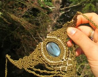 TRIBAL shakti power magic labradorite macramee necklace handmade Jewelry  healing stone