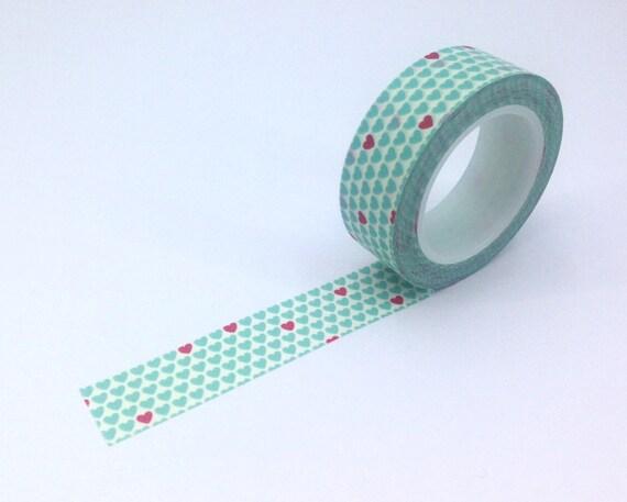 Blue heart washi masking tape decorative tape japanese for Decoration masking tape
