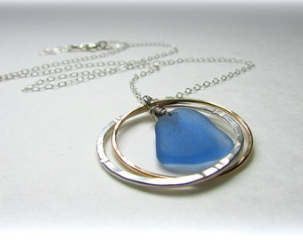 Sea glass jewelry. Endless circles. Gold and silver jewelry. Sea glass necklace. Maine jewelry. Seaglass pendant.
