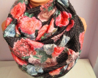 Scarf, Floral  Soft Tricot Infinity Scarf, Shawl Circle Scarf, Loop scarf