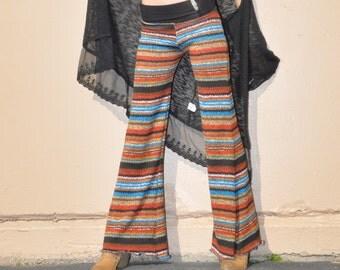 AUTUMN STRIPE SWEATER knit crochet ethnic fall fashion bohemian hippie dance yoga festival  gypsy flare bell bottom pants (or leggings)