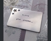 Wallet Card Insert with Stars Cut Out - Personalized Aluminum Card with Your Own Message - More Durable Than a Letter - Unique Keepsake