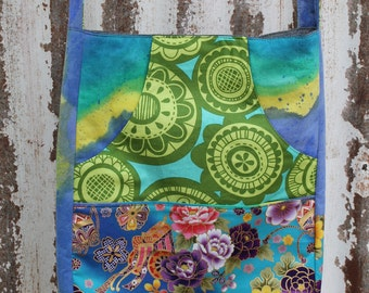 Magazine tote of eclectic mixed fabrics