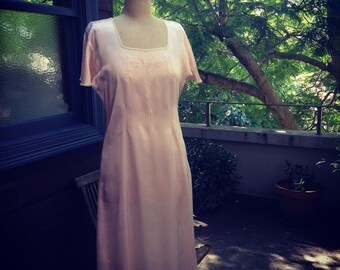 1920s peach satin dress or gown with embroidery