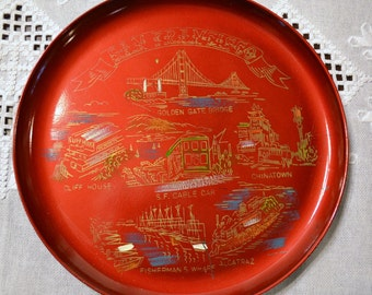 Vintage San Francisco Souvenir Tray Red Lacquer Travel Keepsake Japan PanchosPorch