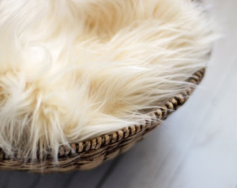 Ready to Ship Faux Fur 18x20 TAN Photography Backdrop, Newborn Photo Prop, Faux Fur Fabric, Basket Filler, Layering Blanket