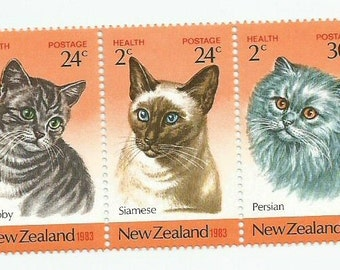 3 Cats From New Zealand Postage Stamps