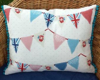 Bunting Cushion Cover with Bobble Fringing, vintage chic rectangular bunting cushion, celebration bunting pillow, retro bunting pillow