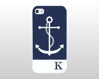 Nautical iPhone 4/4S, 5/5S, 5C or 6/6 Plus Case with Anchor - Navy Blue and White iPhone Cover - Monogrammed Gift