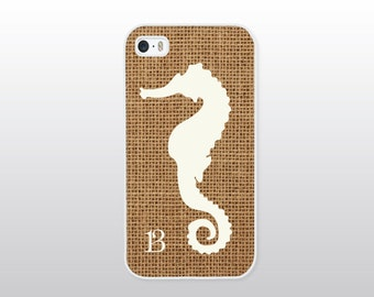 Seahorse iPhone 4/4S, 5/5S, 5C or 6/6 Plus Case for the Beach - Nautical iPhone Case - Monogrammed Gift