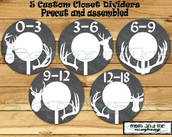 Custom closet dividers Deer Baby Boy Closet Dividers Clothes Dividers Size Dividers Rod Hangers Antler dividers chalk 5- PRECUT Assembled