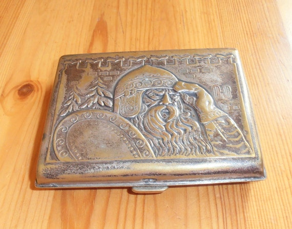 Vintage soviet cigarette case german silver by for Union made business cards
