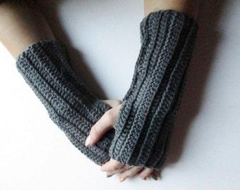 BLACK FRIDAY SALE! Ready to ship! Fingerless Glove, Crochet Fingerless Glove dark gray, winter accessory, woman accessory