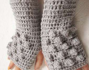 Cute Fingerless Gloves women fingerless gloves gray winter gloves Crocheted Arm Warmers  Light Gray Accessory, merino wool fingerless