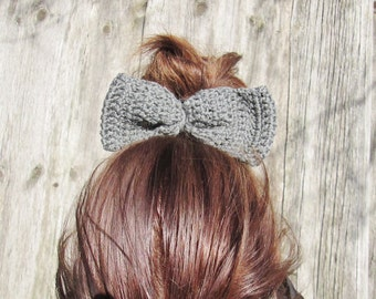 hair bows with rubber,crochet hair bow, gray hair bow, girl hair bow, Gray  Bow Hair