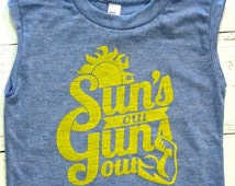 Funny Baby and toddler Muscle-T. Suns out, guns out shirt!  Summer kids shirt.