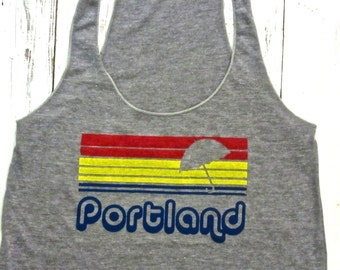 Portland womens tank top. Porrtland Oregon tank. American Apparel.Portland rain and sunset.