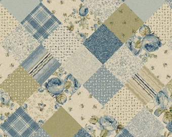 One Yard Olivia - Patchwork in Blue - Cotton Quilt Fabric - by Michele D' Amore for Benartex Fabrics - 4630-55 (W2562)