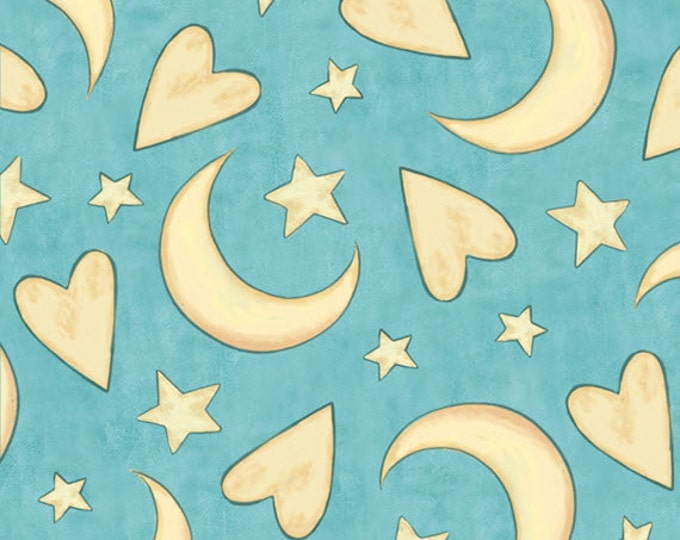 One Yard Expressions of Faith -Hearts Moon Stars in Turquoise- Cotton Quilt Fabric-Bethany Shackelford -Quilting Treasures- 23608-Q (W2428)