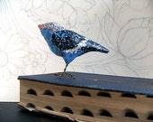 Blue Bird Of Happiness, Paper Mache' Bird, Bird Sculpture, Whimsical Woodland Creature, Bird Lover Gift, OOAK Unique Christmas Holiday Gift