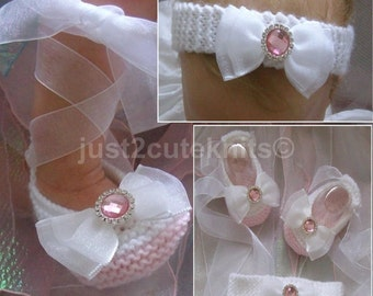 Hand knitted Baby Girls Ballet Booties and matching headband