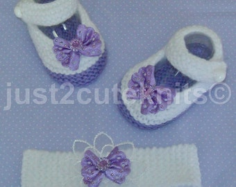 Hand Knitted Designer Baby Girls Mary Jane Booties & Matching Headband Newborn Special Occasion Baby Shower Original Reborn Doll #18