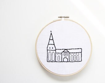Christchurch Cathedral Hand Embroidered Hoop Art