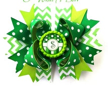 St Patricks day Bow, Personalized Bow, Green Hairbow, Green holiday bow, St pattys day bow, lucky hair bow,St paddys day bow, st patrick bow
