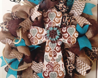Cross wreath, burlap wreath, rustic wreath, burlap wreath, teal wreath, turquoise wreath