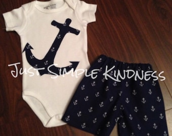 Boys Anchor Outfit Shorts with matching Anchor Bodysuit or T-Shirt, Boys Anchor Outfit, Boys Summer Outfit, Boys Nautical Outfit, Navy Ancho