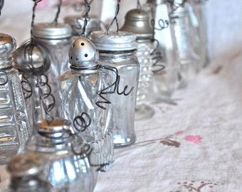 Vintage Wedding table number Holders -Salt shaker -Photo card holder -Number Holder -Recycled Vintage inspired Note holder Inspirational