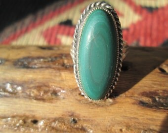 Malachite and Sterling Silver Ring Size 6