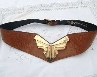 French vintage brown cognac leather Belt , golden  buckle, made in France,genuine leather