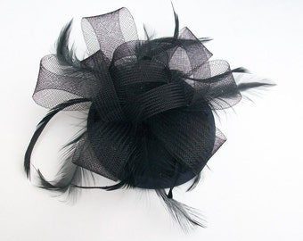 Black Fascinator Black Cocktail Hat with Black Feathers Handmade