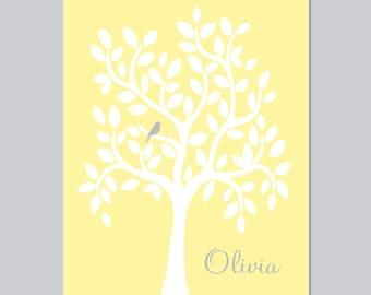Baby Girl Nursery Wall Art Yellow Gray Nursery Decor Nursery Tree Artwork Nursery Bird Girl Baby Shower Gift Birthday Gift 1 Print Or Canvas