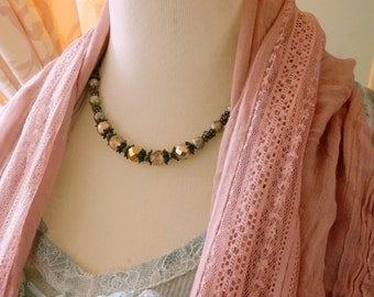 Vintage inspired Czech glass necklace Romantic accessory