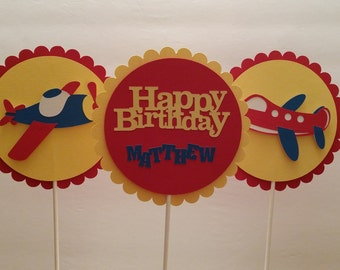 Happy Birthday Centerpiece Sticks - Birthday Party Centerpiece Sticks - Birthday Party Decoration - Airplane Decoration Sticks Set of 3
