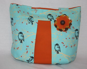 Sweet Linda Bag in turquoise and orange with bird print and flower corsage