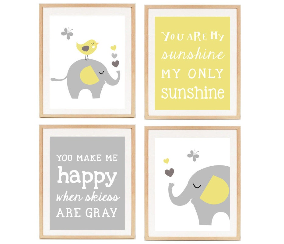 nursery yellow and gray wall art baby shower by lillylamanch