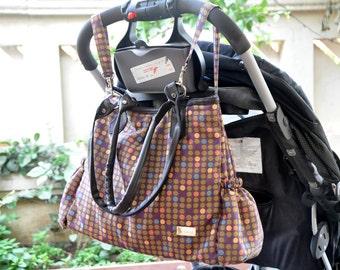 Sale! Polkadot Diaper Bag, Waterproof Diaper Bag, Polka Dot Diaper Bag, Baby Bag,Diaper Boy Bag, Messenger Diaper Bag, Leather Baby Girl Bag
