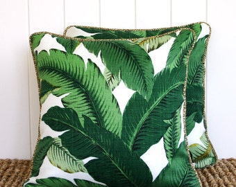 Green Palm Outdoor Square Cushion Pillow Cover - With OPTIONAL Piping trim