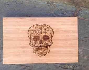 Sugar Skull Cutting Board, Bamboo Day of the Dead Beautiful Unique Chopping Block