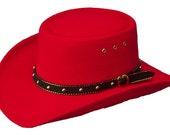 Red Faux Felt True Gambler Hat  Small Thru XL  Old West Style Cowboy Hat