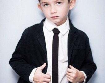 Black skinny tie Boys skinny tie - kids necktie - tie for kids
