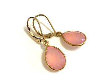 Pink Chalcedony Gold Earrings, PINK Chalcedony  Teardrop Earrings, Gold Filled Wires, Pink Delicate Earrings